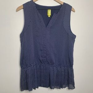 QMack Blue & White Polkadot Peplum Sleeveless Top